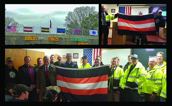 Public Works Flag on Route 6 and Route 149 overpass